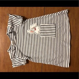 EUC H&M Sz 6-9M Blue & White Striped Dress w/ 🐰